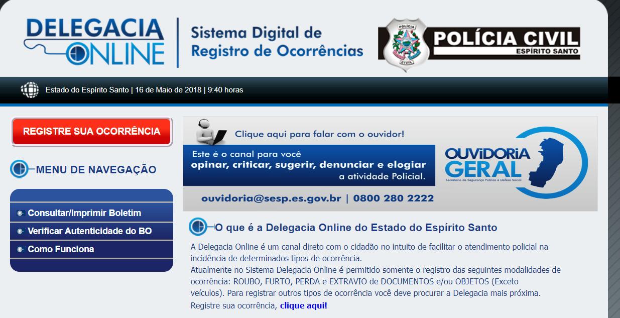 Delegacia Online do Estado do Espírito Santo