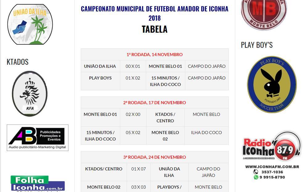 Site Folha Iconha lança plataforma para divulgar o Campeonato Municipal