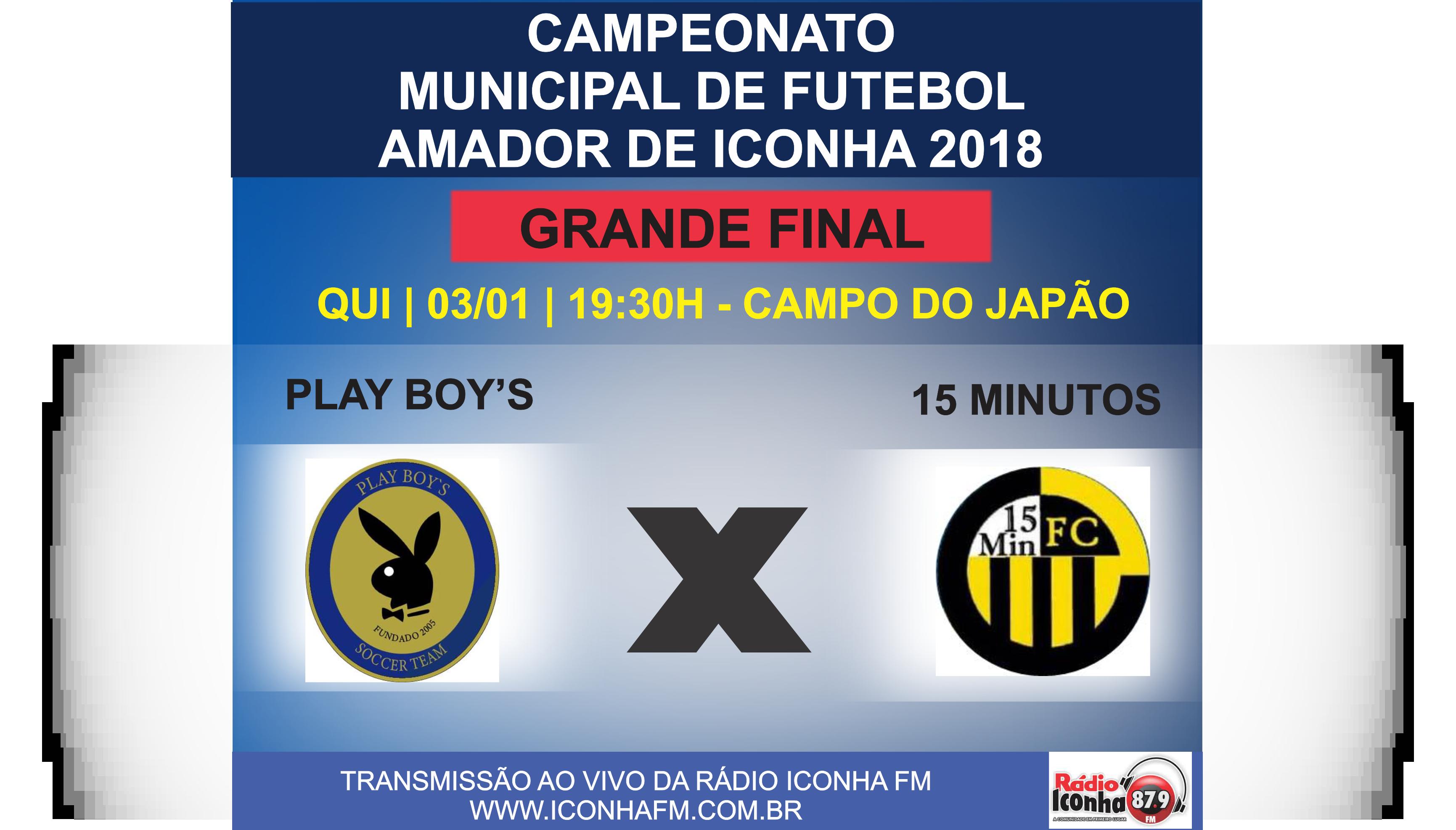 Play Boys e 15 Minutos fazem a decisão do Campeonato Municipal de Iconha nesta quinta feira