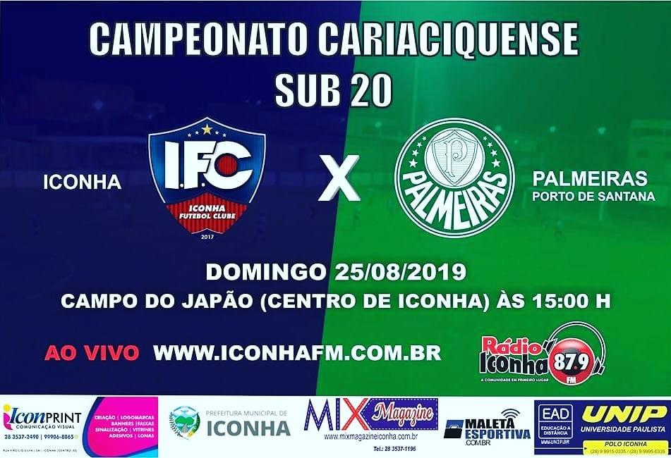 Em casa, Iconha FC enfrenta o líder da competição, o Palmeiras de Porto de Santana