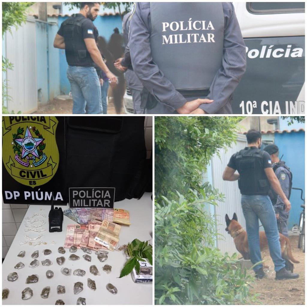 OPERAÇÃO INTEGRADA ENTRE AS POLÍCIAS MILITAR E CIVIL APREENDE DROGA EM PIÚMA