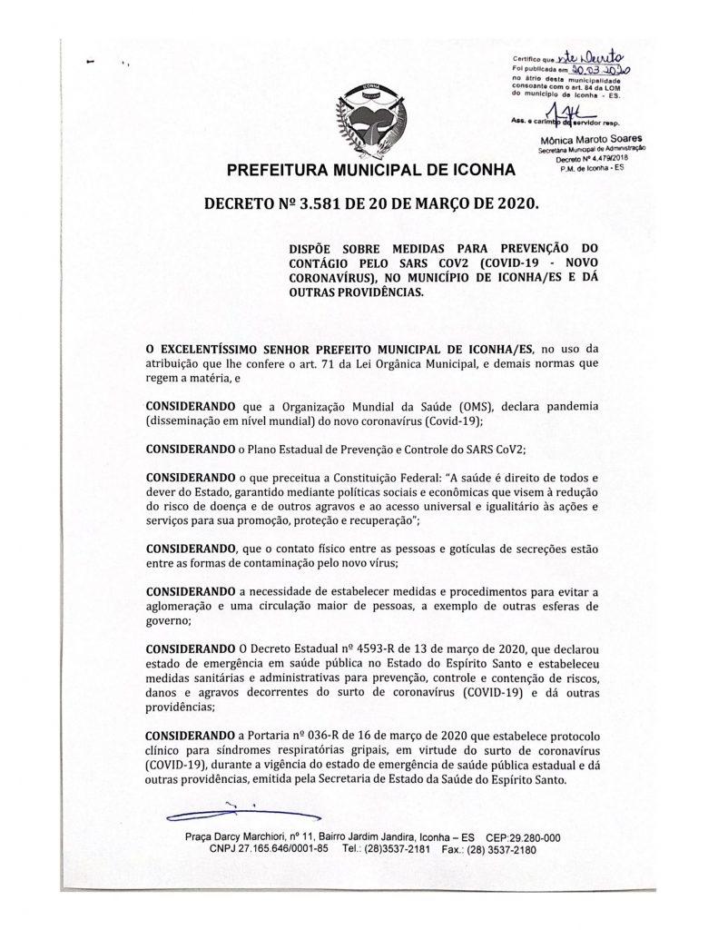 0001 791x1024 - Coronavírus: Prefeitura de Iconha manda comércio fechar por 07 dias