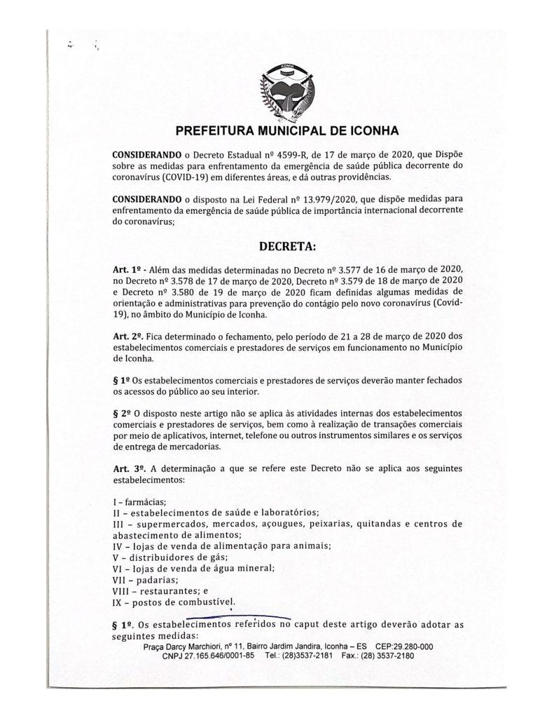 0002 791x1024 - Coronavírus: Prefeitura de Iconha manda comércio fechar por 07 dias