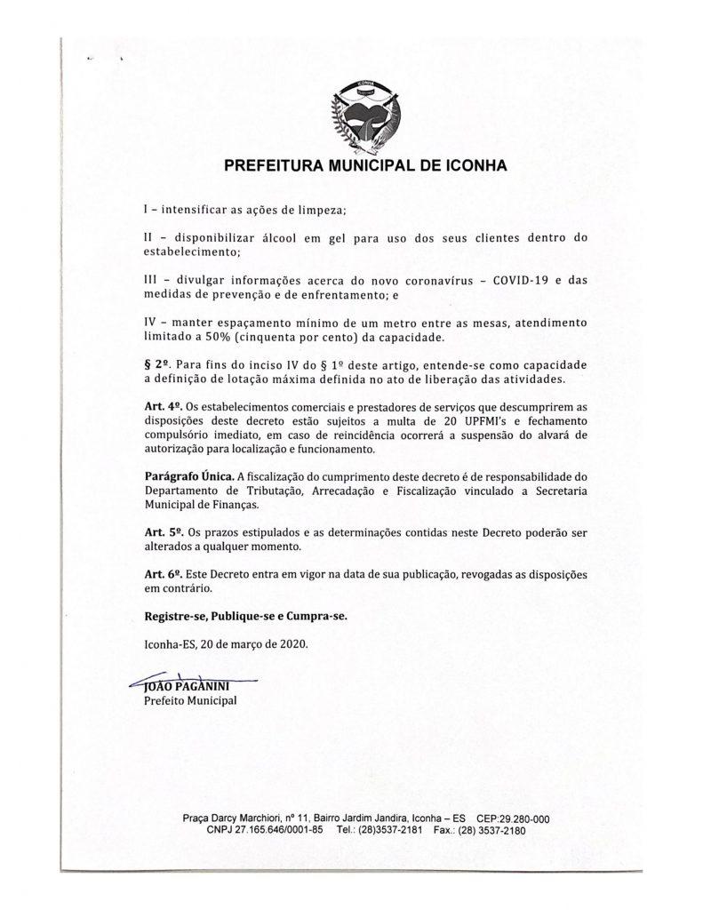 0003 791x1024 - Coronavírus: Prefeitura de Iconha manda comércio fechar por 07 dias