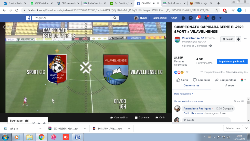"""vilavelha x sport 1024x576 - VilaVelhense comemora audiência com transmissão de """"Rádio"""" na TV web"""