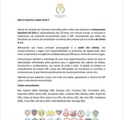 nota enviada pelos clubes da serie c para a cbf 250x242 - Clubes da Série C pedem novo socorro financeiro à CBF