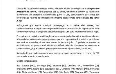 nota enviada pelos clubes da serie c para a cbf 400x255 - Clubes da Série C pedem novo socorro financeiro à CBF