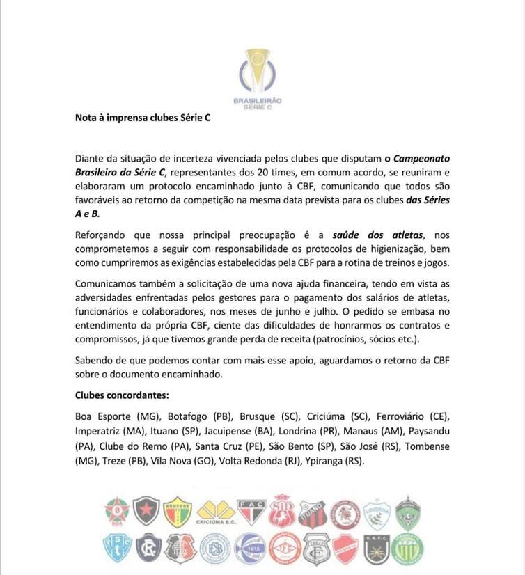 Clubes da Série C pedem novo socorro financeiro à CBF