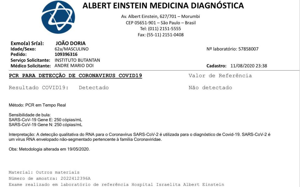 João Doria testa positivo para o novo coronavírus