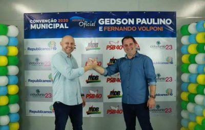 REPUBLICANOS, PMN, MDB, PSB, REDE e CIDADANIA confirmaram apoio a Gedson Paulino e Fernando Volponi para a disputa eleitoral deste ano