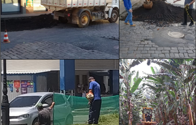 Foto Prefeitura 1 400x255 - Prefeitura mobiliza secretaria de obras e realiza várias ações para deixar a cidade limpa e mais organizada.
