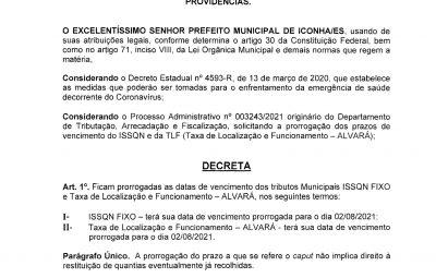 0001 400x255 - PREFEITURA DE ICONHA PRORROGA PRAZO DE VENCIMENTO DO ISSQN E DA TAXA DE ALVARÁ.