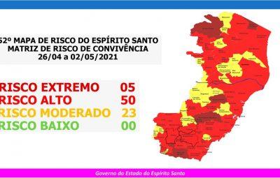 52o MAPA DE RISCO 26.04 a 02.05 400x255 - Governo do Espírito Santo divulga 52º Mapa de Risco Covid-19