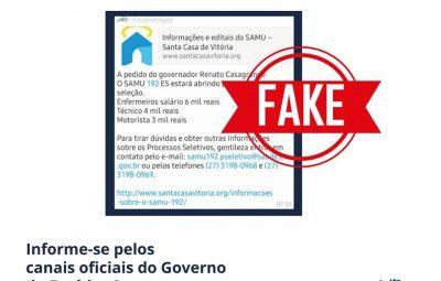 Samu Fake 400x255 - Informação que Samu está com vagas abertas é falsa