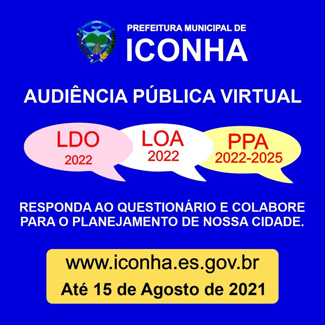Prefeitura começa a receber propostas e reivindicações da população para elaborar LDO, LOA 2022 e PPA 2022-2025