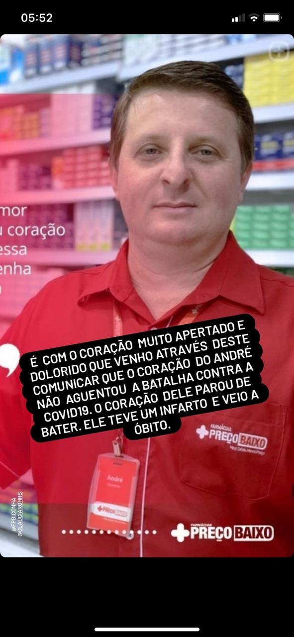 Gerente de farmacia em Iconha morre vítima do coronavírus