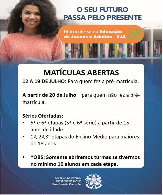EEEFM Coronel Antonio Duarte – Educação de Jovens e Adultos (EJA) – Iconha/ES